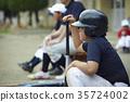 男孩棒球击球手画象 35724002