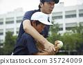 男孩棒球運動員實踐的投球畫象 35724009