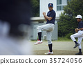 男孩棒球運動員實踐的投球畫象 35724056