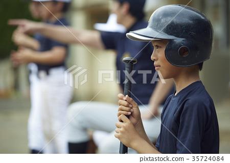 男孩棒球擊球手畫象 35724084