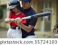 เด็กชายเบสบอลบอยฝึกซ้อมบอล 35724103
