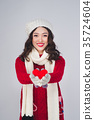 Christmas winter happiness concept. Asian woman 35724604