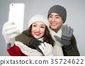 couple, selfie, winter 35724622