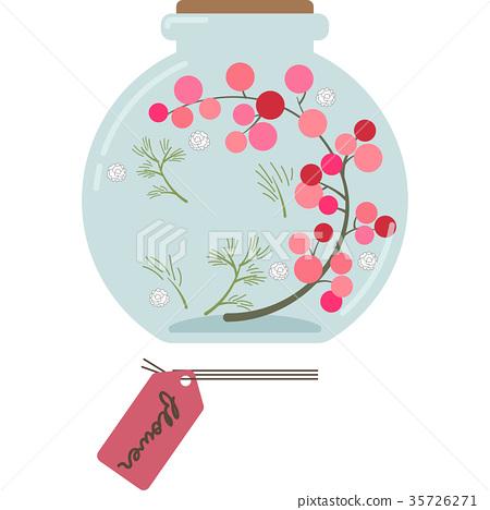 植物標本室的插圖(圓形,粉紅色) 35726271