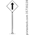 Drawing of One Way Arrow Traffic Sign 35730228