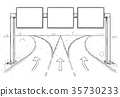 Drawing of Blank Empty Road Sign on Highway 35730233