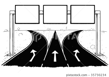 Drawing of Blank Empty Road Sign on Highway 35730234