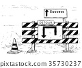 Drawing of Detour Road Block with Success Sign 35730237