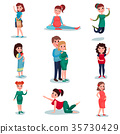 Pregnant women characters in different poses set 35730429