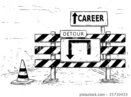 Drawing of Detour Road Block with Career Sign 35730433