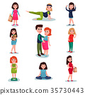 Pregnant women characters in different poses set 35730443