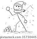 Holding Throwing Snowball during Winter Snowfall 35730445