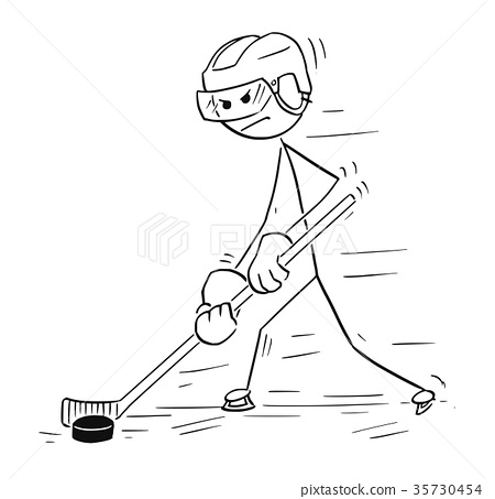 Cartoon Drawing of Ice Hockey Player 35730454