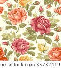 Retro flower seamless pattern - roses 35732419