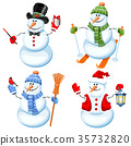 Set of cute snowman 35732820