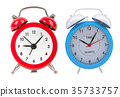 Set of alarm clocks. Isolated on white 35733757