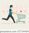 A happy man shopping artificial hearts 35734404