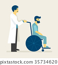 Doctor and patient on wheel chair 35734620