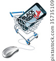 Black Friday Sale Phone Mouse Trolley Sign 35735109