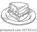 Victoria Sponge Cake Vintage Retro Woodcut Style 35735112