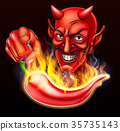 Flaming Hot Pepper and Pointing Devil 35735143