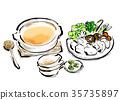 鍋裡煮好的食物 燉湯 手繪 35735897