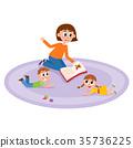 vector flat cartoon children sitting around woman 35736225