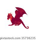 Mythical, mythological red flying dragon character 35736235