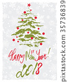 Greeting card with Christmas tree 35736839