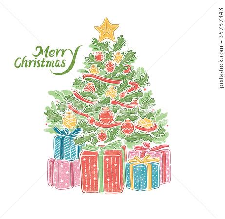 聖誕節,聖誕樹與禮物,手繪插畫 35737843