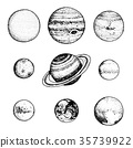 planets in solar system. moon and the sun, mercury 35739922