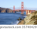Golden Gate Bridge and Baker Beach on a sunny day 35740429