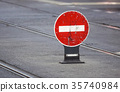 Traffic sign, no entry for traffic on the street 35740984