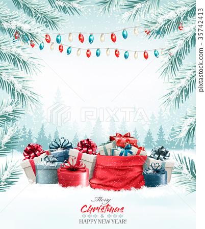 Christmas holiday background with gift boxes 35742413