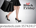 Black Friday sale background with woman  35742417