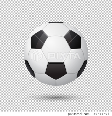 Vector realistic flying soccer ball closeup 35744751