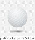 Vector realistic flying golf ball closeup isolated 35744754