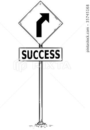 Drawing Curved Road Arrow Traffic Sign Success 35745168