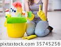 Woman doing cleaning at home 35745256