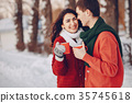 Couple love snow and cold 35745618