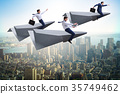 Businessman flying on paper plane in business 35749462