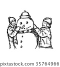 Little smiling boy and girl building a snowman 35764966