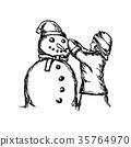 Little girl building a snowman vector illustration 35764970