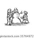 Little two boys building a snowman  35764972