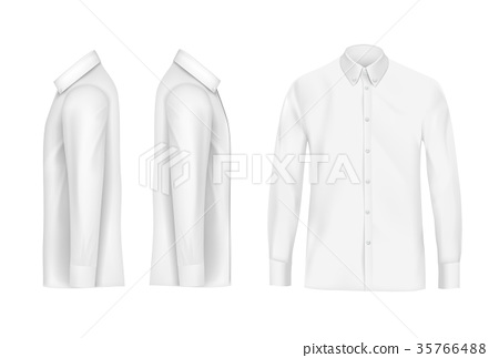 White male shirt with long sleeves and buttons 35766488