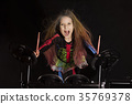 drummer, girl, performance 35769378