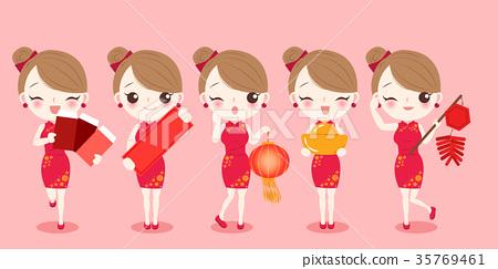 cartoon woman wear cheongsam 35769461