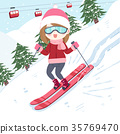 woman with skiing 35769470