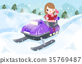 woman is snowmobiling 35769487