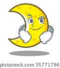 Smirking crescent moon character cartoon 35771796
